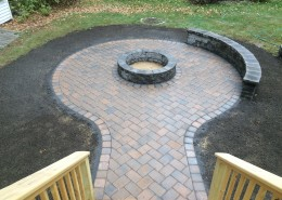 Techo-Bloc Patio, Fire Pit, and Seating Wall
