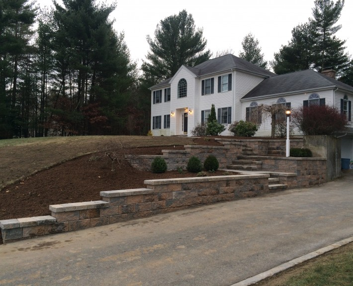 Techo Bloc Retaining Walls and Staircase