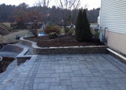 Unilock patio, Natural Stone Retaining Wall