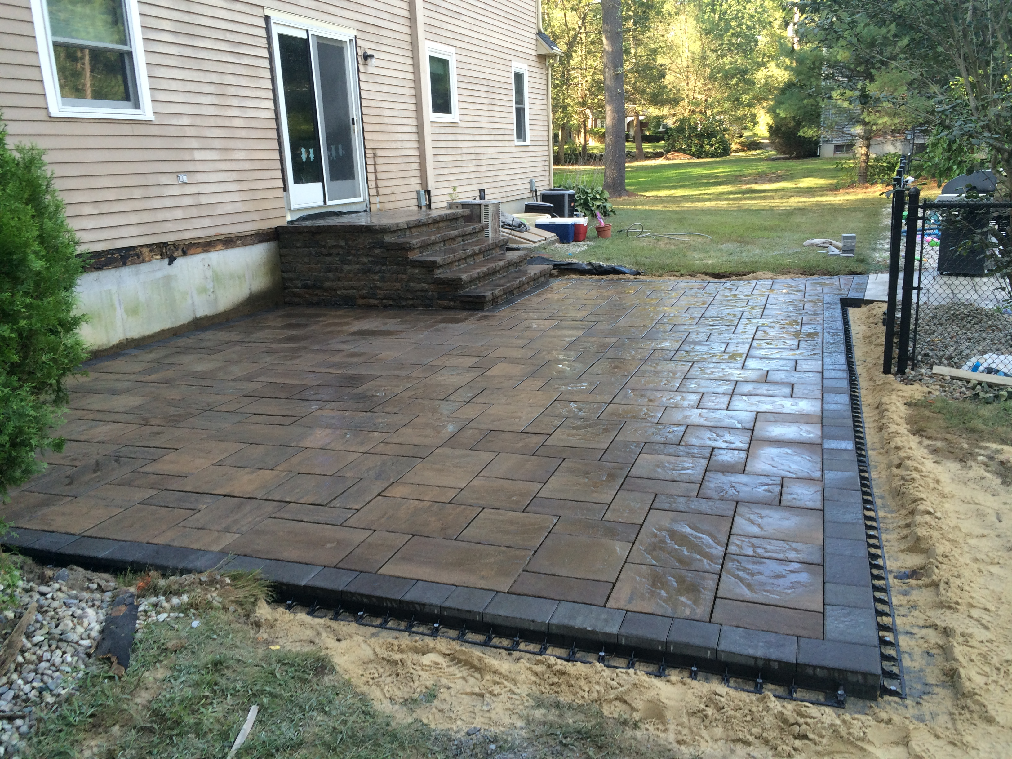 pin and pavers interlock stoop colonial installation paver pinterest patio