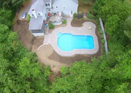 Unilock Pool Deck, Fire Pit, Stairs, and Retaining Wall